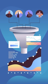Arab businesspeople customers or employees sales funnel cone internet marketing concept vertical portrait vector illustration