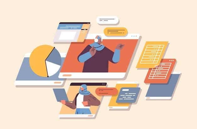 Арабские бизнесмены обсуждают во время видеозвонка, виртуальную конференцию, концепцию совместной работы онлайн