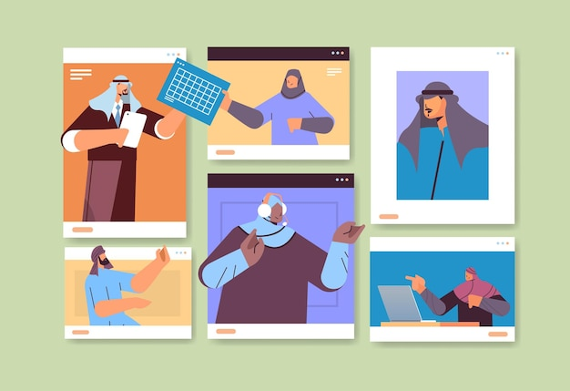 Арабские бизнесмены в окнах веб-браузера обсуждают во время видеозвонка арабские деловые люди команда, использующая виртуальную конференцию, онлайн-общение, концепция совместной работы, горизонтальный портрет, вектор, illustrati