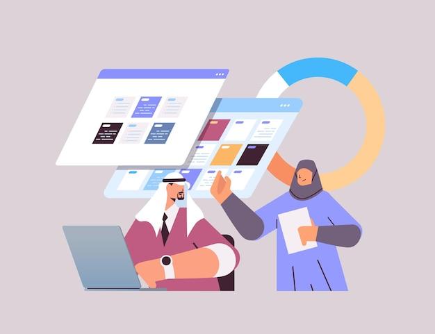 Arab businesspeople planning day scheduling appointment in online calendar app agenda meeting plan time management deadline concept portrait vector illustration