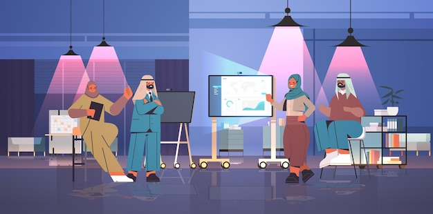 Arab businesspeople team making financial presentation on digital board during conference meeting successful team working in creative night dark office full length horizontal vector illustration