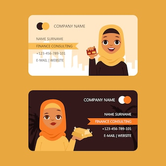 Arab businesswoman finance consulting set of business cards