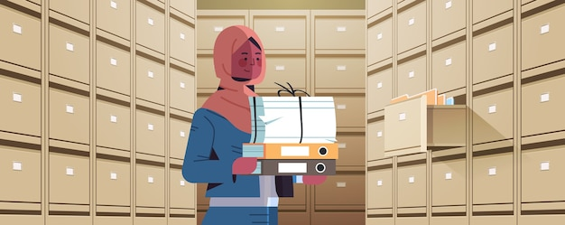 Arab businesswoman holding cardboard box with documents in filing wall cabinet with open drawer data archive storage business administration paper work concept horizontal portrait vector illustration