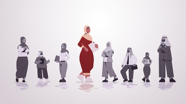 Arab businesswoman leader standing in front of arabic businesspeople group leadership business competition concept  full length  illustration