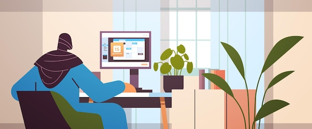 Arab businesswoman planning day scheduling appointment in calendar on monitor screen time management concept horizontal portrait vector illustration