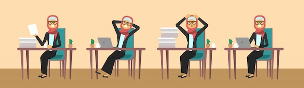 Arab businesswoman sitting at office desk in different poses hard working business woman process concept banner