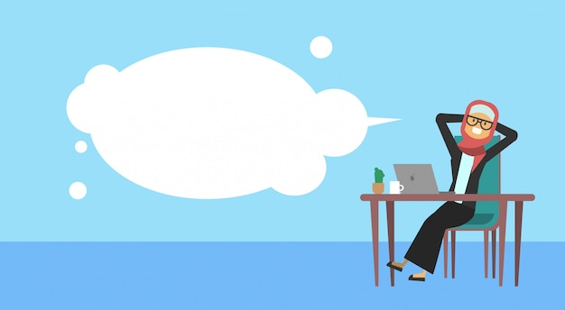 Arab businesswoman sitting at office desk hold the head bubbles business woman cofee break concept banner