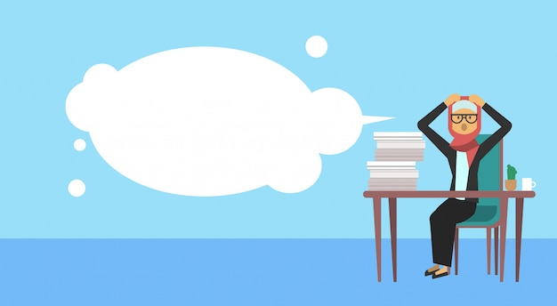 Arab businesswoman sitting at office desk hold the head bubbles business woman hard working process concept banner