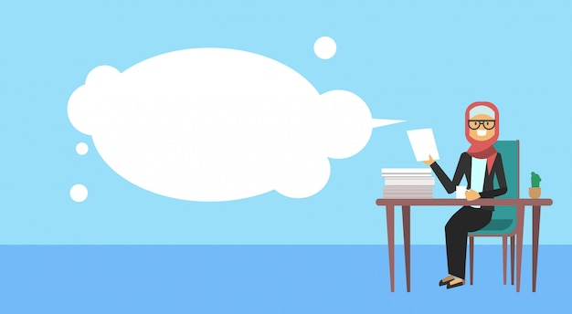 Arab businesswoman sitting at office desk hold a paper bubbles  hard working business woman process concept banner