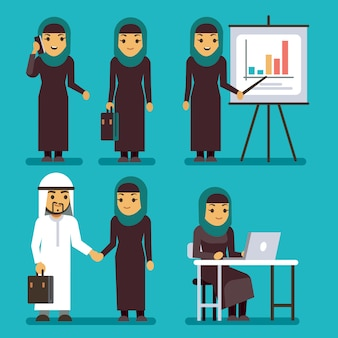 Arab businesswoman vector characters set