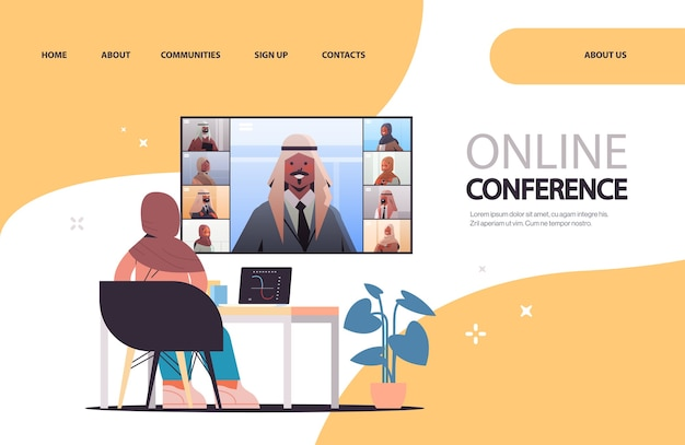 Arab businesswoman at workplace discussing with arabic businesspeople during corporate online conference business people having virtual meeting landing page