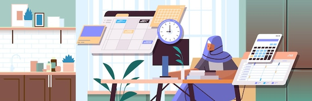 Arab businesswoman at workplace planning day scheduling appointment time management concept portrait horizontal vector illustration