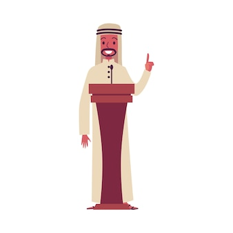Arab cartoon character giving presentation speech on lectern podium, happy arabic business man in saudi clothes pointing finger and speaking into microphone