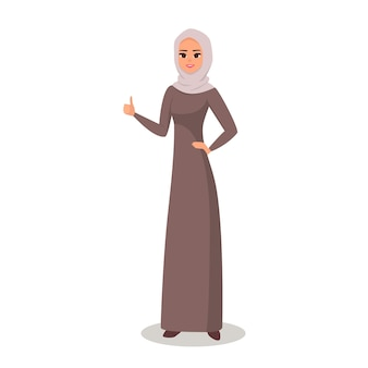 Arab cheerful woman gesturing with fingers and showing upcartoon arab woman character with hijab