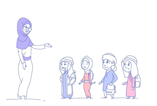 Arab children pupils with female teacher muslim schoolchildren group sketch doodle horizontal isolated