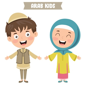 Arab children wearing traditional clothes
