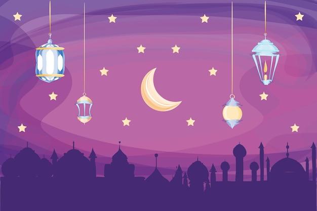 아랍 도시 달 거는 등불