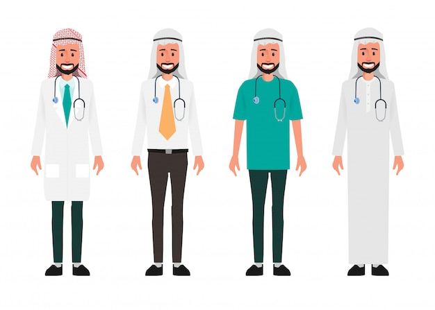 Arab doctor character. hospital worker and medical staff.