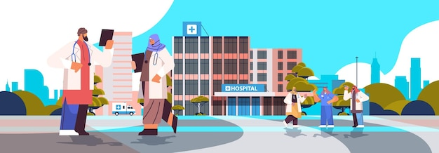 Arab doctors in uniform discussing during meeting neat modern hospital building healthcare medicine concept horizontal full length vector illustration