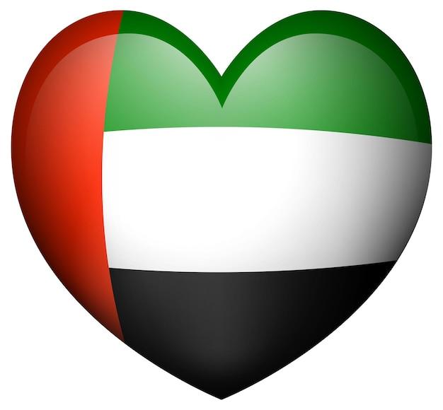 심장 모양 아이콘에 아랍에미리트 국기