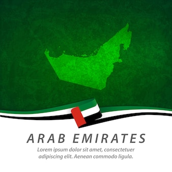 Arab emirates flag with central map
