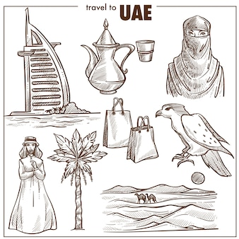 Arab emirates travel sketch  landmarks