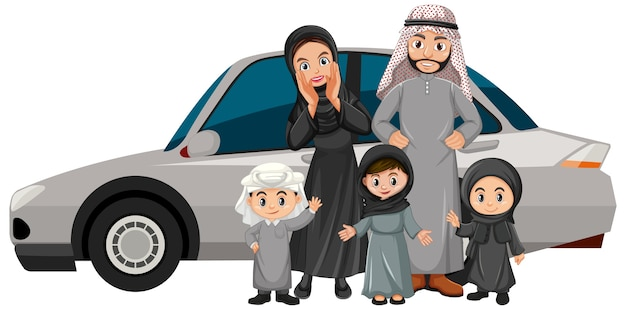 Arab family on holiday