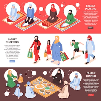 Arab family horizontal banners set with shoping and office symbols isometric isolated