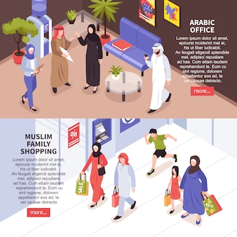 Arab family horizontal banners set with shopping and office symbols isometric isolated