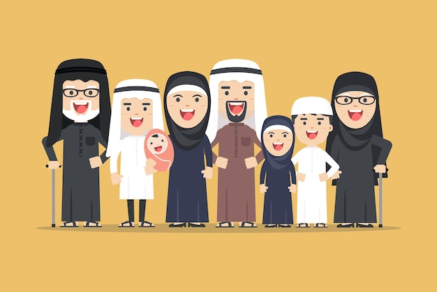 Arab family, muslim people, saudi cartoon man and woman. arab people father, mother, son, daughter, grandmother and grandfather standing together