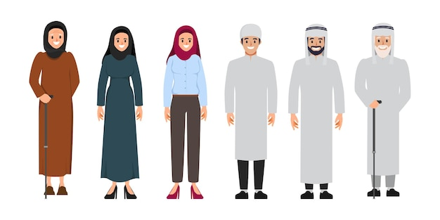 Arab family and muslim people and saudi cartoon man and woman