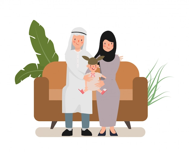 Arab family people character. people in national clothing hijab.