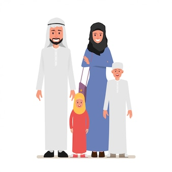 Arab family people character with parent.