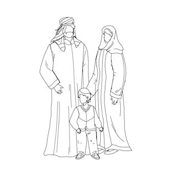 Арабские семейные люди отец, мать и сын черная линия карандашный рисунок вектор. арабский семьянин, женщина и мальчик, носящие мусульманскую традиционную исламскую одежду, стоя вместе. персонажи иллюстрации
