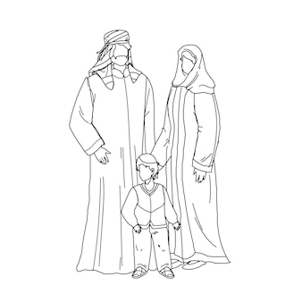 Arab family people father, mother and son black line pencil drawing vector. arabic family man, woman and boy child wearing muslim islamic traditional clothes standing together. characters illustration