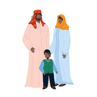 Arab family people father, mother and son vector. arabic family man, woman and boy child wearing muslim islamic traditional clothes standing together. characters flat cartoon illustration