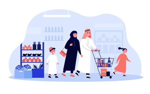 アラブの家族が食料品店で買い物。スーパーマーケットの通路に沿ってカートを動かすイスラム教徒の服で2人の子供とイスラム教徒の幸せなカップル。ショッピング、食品の購入、アラビア人のコンセプト