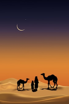Arab family  with camels caravan silhouette in realistic desert sands at night