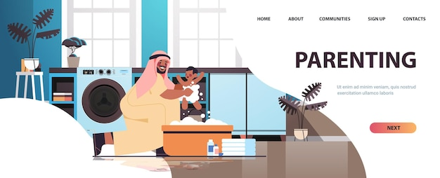 Arab father bathing little son in small bath tub fatherhood parenting concept dad spending time with baby at home bathroom interior full length horizontal copy space vector illustration