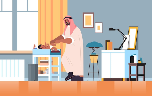 Arab father changing diaper to his little son fatherhood parenting concept dad spending time with his baby at home living room interior full length horizontal vector illustration
