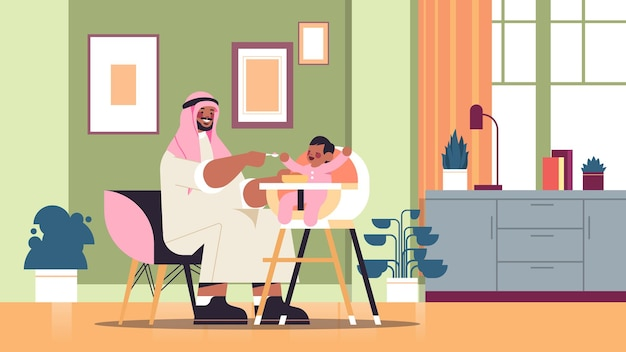 Arab father feeding his little son on kids eating chair fatherhood parenting concept dad spending time with baby at home living room interior horizontal full length vector illustration