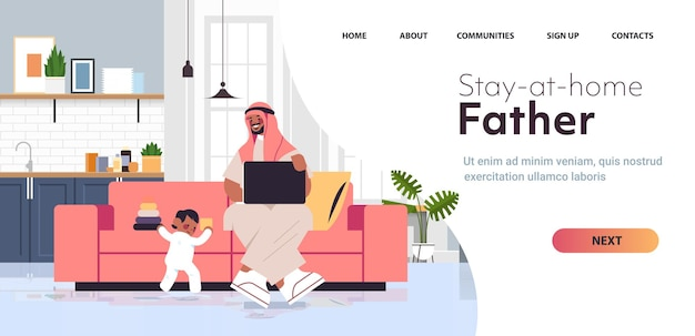 Arab father playing with little son and using laptop fatherhood parenting concept dad spending time with his kid at home living room interior full length copy space horizontal vector illustration