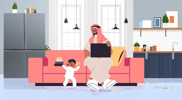 Arab father playing with little son and using laptop fatherhood parenting concept dad spending time with his kid at home living room interior full length horizontal vector illustration