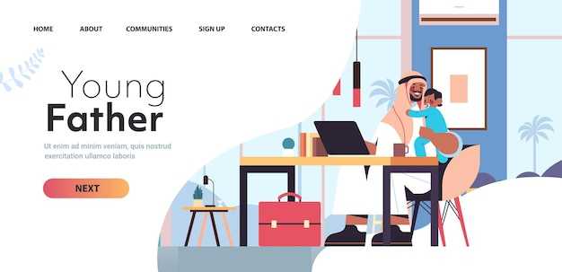 Arab father sitting at workplace with little son fatherhood parenting concept dad spending time with his kid at home living room interior horizontal full length copy space vector illustration