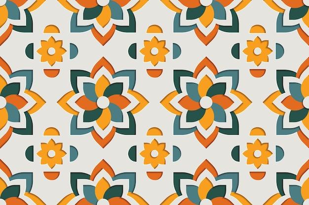아랍 꽃 풍의 완벽 한 패턴입니다. 동쪽 모티브 종이 스타일 배경
