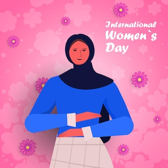 Arab girl celebrating international womens day 8 march holiday celebration concept portrait illustration