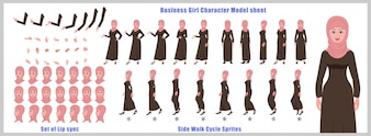 歩行サイクルアニメーションとリップシンクのアラブガールキャラクターモデルシート