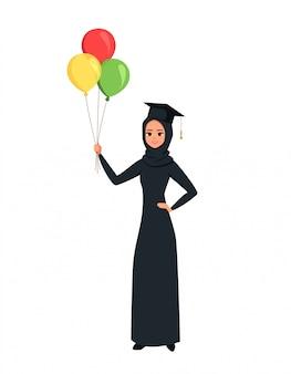 Arab graduate girl student holds balloons