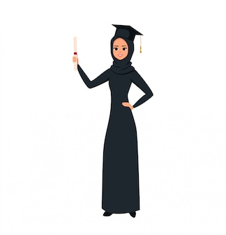 Arab graduate girl student holds a diploma