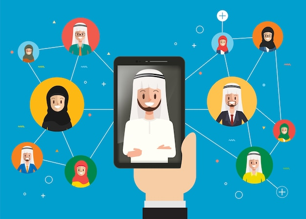 Arab group people communication infographic.